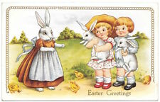 Easter PC Dressed Rabbit Mother Asking Children for her Baby Bunnies~104819