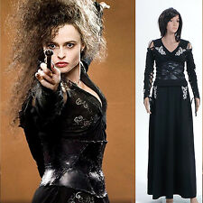 Harry Potter Bellatrix LeStrange Black Dress Costume *Tailored*