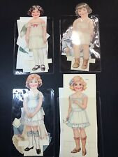 """4 Vintage 10"""" Paper Dolls On Stands W/12 Outfits Mid Century Susie Sue Pam Tim"""