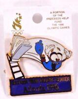 1996 Olympic Pin Atlanta Games Georgia Tech Aquatic Center w/Izzy On Card