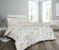 200 Thread Count Cotton Rich Superking Duvet Cover Set Floral Design Yellow Blue
