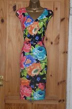 Black pink floral stretchy galaxy pencil wiggle evening party dress size 14 16
