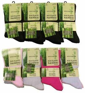 12 Pairs Of Ladies Bamboo Loose Top Socks, Super Soft Anti Bacterial Socks