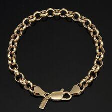18K Yellow Gold GL Medium Solid Women's Belcher Bracelet with Parrot Clasp 18cm