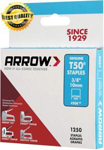 "Arrow 506 Genuine T50 3/8-Inch Staples, 1250-Pack 3/8"""
