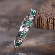Band Ring In14k White Gold Over 2.00ct Emerald and Diamond Full Eternity Wedding