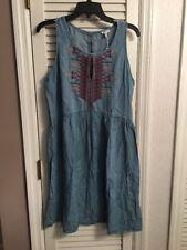 NWT Spense Blue Soft Denim Aztec Embroidered Sleeveless Dress size 10