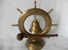 Vintage Brass Nautical Ship Wheel Chime Dinner  Bell  Gong India 8""