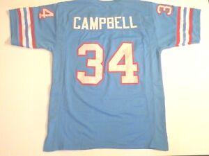UNSIGNED CUSTOM Sewn Stitched Earl Campbell Blue Jersey - M, L, XL, 2XL, 3XL