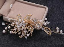 Pearls Wedding Hair Comb Crystal Bridal Accessories Rhinestone Headdress 1 Piece