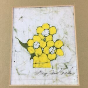 Vtg Signed BATIK Fiber Art Mary Jane Becker Textile Wax Painting Yellow Flowers