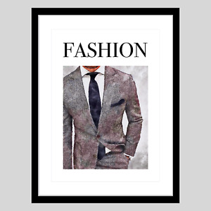 MEN Fashion SUIT Watercolour Wall Art A3 Print for Home, Office Walk-in Wardrobe