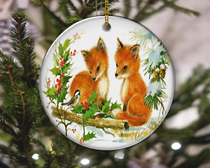 Cute Baby Foxes with Mistletoe Vintage Style Christmas Ornament, Christmas Gift
