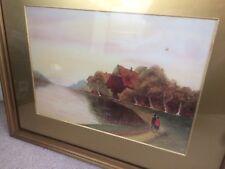 Lakeside Watercolour Painting English Countryside Couple Walking Love Artwork