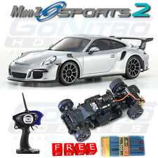 Kyosho MINI-Z Sports 2 MR-03S2 RM Porsche 911 GT3 RS RTR Silver w/ Free Tool Set