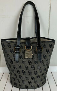 Dooney & Bourke Authentic Signature North/South Bucket Bag Black Gray AS IS