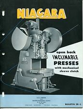 1953 Vintage NIAGARA Sales Catalog: OPEN BACK INCLINABLE PRESSES & SLEEVE CLUTCH