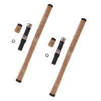 2 Set manico lungo Rod morbido impugnatura in sughero canna da pesca