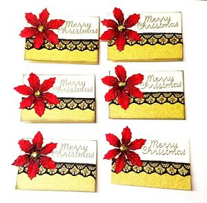 POINSETTIA CHRISTMAS GIFT TAGS 6 Pack Lot - Handmade - Scrapbooking Cardmaking