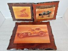 3 Vintage USA Sprint Track Car Racing Wooden Plaques 14 29 2 Retro Motor Sports