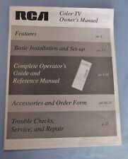 Vintage 1992 RCA Color TV Owner's Manual 1Q57 107-01B