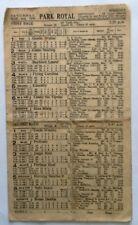 1946 PARK ROYAL GREYHOUND RACING RACECARD