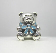 BID Authentic Pandora 925 Sterling Silver Charm Son Blue Teddy Bear 791124EN41
