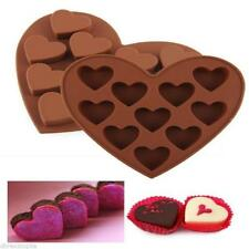 10 Heart Shaped Chocolate Ice Jelly Fondant Silicone Mould Tray Cake Valentine F