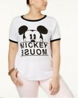 Disney Women's Plus Size White Mickey Mouse Short Sleeve Shirt Size 1X NEW