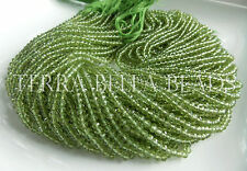"""13"""" strand AAA PERIDOT micro faceted gem stone rondelle beads 3.5mm"""