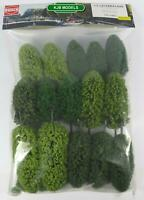 BNIB OO / HO BUSCH 6485 15 DECIDUOUS TREES WITH ROOTS - MODEL RAILWAY SCENERY