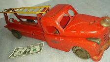 """Antique pressed steel Structo Fire Rescue Ladder Truck  21"""" long. Vintage 1930s."""