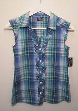 Faded Glory NWT Blue Plaid Ruffle Button Blouse Size L (10-12)