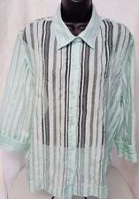 Ruby Rd. Woman's Green Striped Button Down Sheer Shirt Size 18