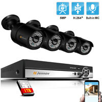 5MP 4CH POE IP CCTV Security Camera System Kit Outdoor Audio 1920P NVR Indoor