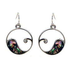 Ocean Wave Design Fashionable Earrings - Fish Hook - Abalone Paua Shell