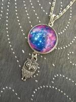 Galactic Universe Magic Crescent Moon Necklace Nebula Star Wicca Pendant Owl