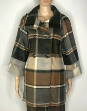 Anthropologie Elevenses Plaid Wool Peacoat Size S Gray
