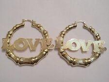 14K Gold Filled 50mm Bamboo Love Hoop Earrings Item #A179