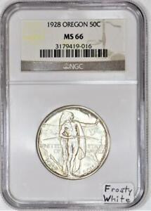 1928 Oregon Commemorative Half Dollar NGC MS-66; Frosty White