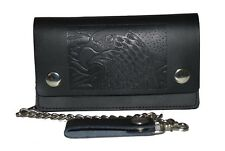 Men's Leather Large Eagle Black Wallet with Chain Biker Trucker Leatherboss