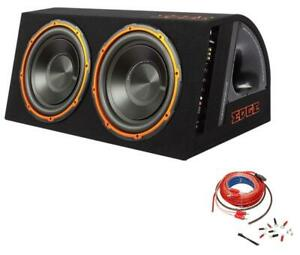 EDGE 12in 1800w MAX Twin Active Car Audio Bass Box Subwoofer Enclosure / Amp Kit