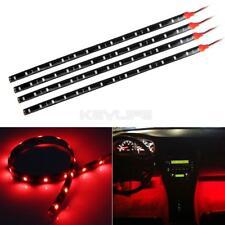 4x 15-SMD Red LED Strip Lights For Car Holder Glove Foot Area Under Dash Seat