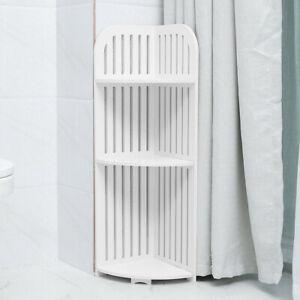 Bathroom Corner Shelf 3 Tier Shelving Rack Unit White Display Stand Home Storage