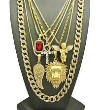 Hip Hop Red Stone, Angel, Ankh, Lion, Wing, Cubic Zircon Stone Chain 6 Necklace
