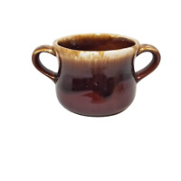 Vintage McCoy Two Handle Soup Bowl Mug Cup Brown Pottery Drip Glaze Dinnerware