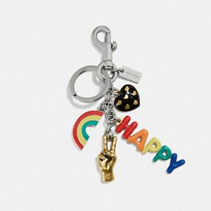 💙 COACH PRIDE Happy Multi Mix Keychain Bag Charm Fob Rainbow Handbag Key NWT