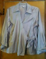 JM Collection Woman Holiday Gold Wrap Blouse Career Top Shirt Plus Size 16W 1X