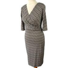 Diane Von Furstenberg Size 8 10 Black White Geometric V Neck Pure Silk Dress