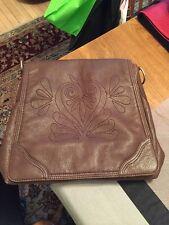 Gianni Bini Women's Brown Leather Crossbody Saddlebag Shoulder Large Purse
